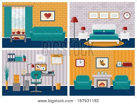 Rooms interiors. Living room bedroom hotel office workspace in flat design with furniture. Vector. Cartoon house equipment couch bed fireplace armchair desk computer lamps. Set illustrations.