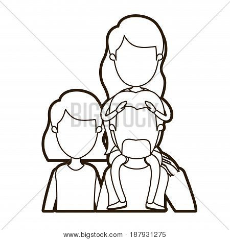 black thick contour caricature faceless front view half body family parents with girl long hairstyle on his back vector illustration