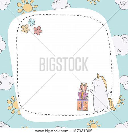 Greeting Card With Cartoon Unicorn.