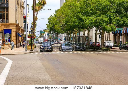 Beverly Hills, CA, USA - 07/01/2015: Intersection of El Camino and Wiltshire Blvd in Beverly Hills California