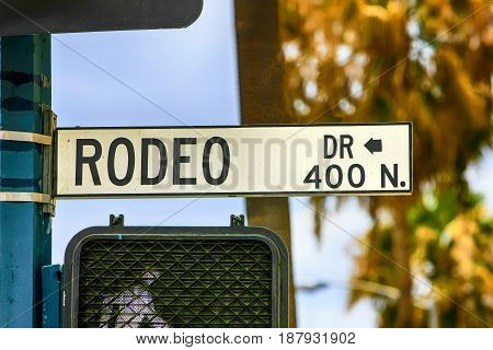 Beverly Hills, CA, USA - 07/01/2015: Rodeo Drive street sign in Beverly Hills California