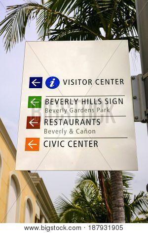 Beverly Hills, CA, USA - 07/01/2015: Beverly Hills tourist information sign California