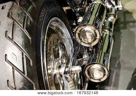 the rear wheel of a sports bike