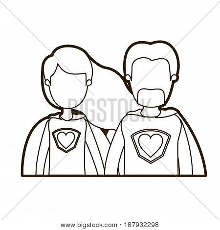 black thick contour caricature faceless half body couple super hero with heart symbol in uniform vector illustration