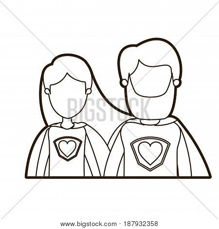 black thick contour caricature faceless half body couple female and male super hero with heart symbol in uniform vector illustration