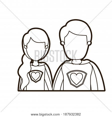 black thick contour caricature faceless half body young couple female and male super hero with heart symbol in uniform vector illustration