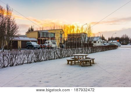 Picnic table  in Iceland, winter landscape