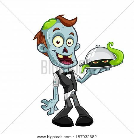 Funny zombie, he is dressed in waiter clothes, vector illustration