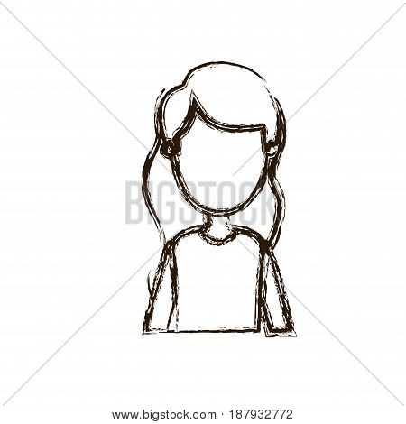 blurred silhouette caricature faceless half body woman with wavy long hair vector illustration