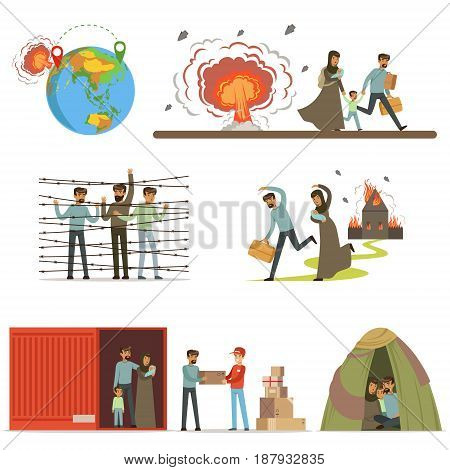 Stateless refugees, war victims set. Illigal immigrants vector illustrations isolated on a white background