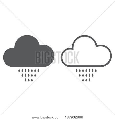 Drizzle weather icon. solid and outline isolated on white