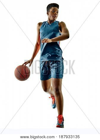 one african Basketball player woman teenager girl isolated on white background with shadows