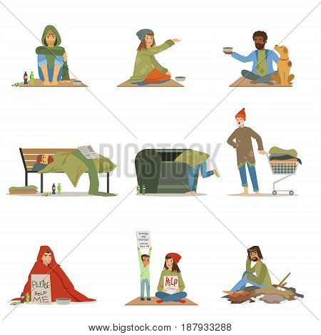 Homeless people set. Men, women, children needing help vector illustrations isolated on a white background