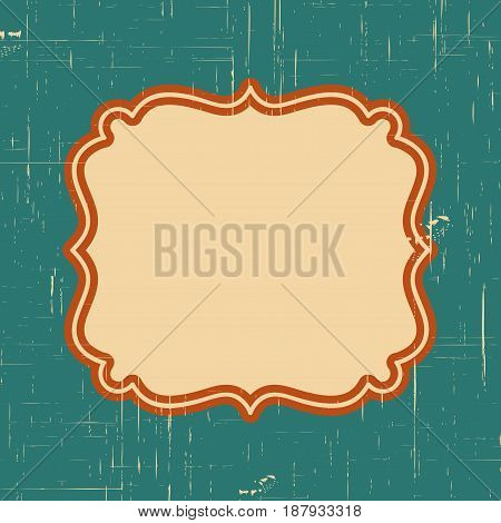Vector Vintage Border Frame With Retro Ornament Pattern In Antique Style Decorative Design. Old Fash