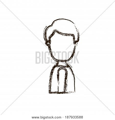 blurred thick silhouette caricature faceless side view half body young man with hairstyle vector illustration