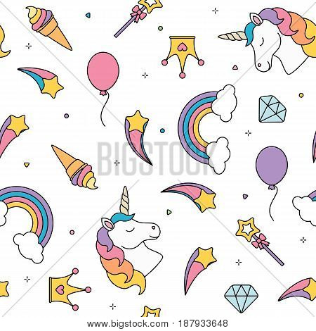 Unicorn, stars and rainbow seamless pattern isolated on white background