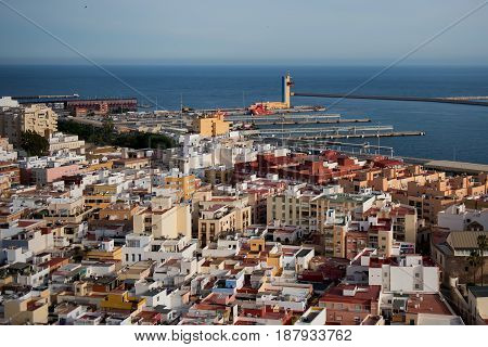 View from above port and small spanish town