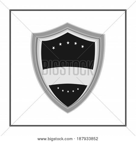 Shield With Ribbon And Stars In Trendy Flat Style Isolated On White Background. Herald Logo And Medi