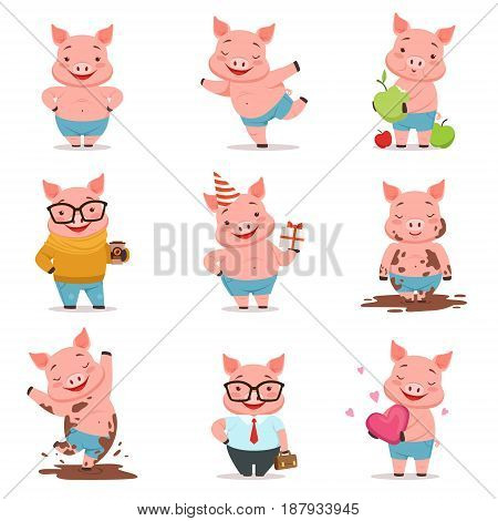 Little cartoon pigs characters posing in different situations set of vector illustrations isolated on a white background