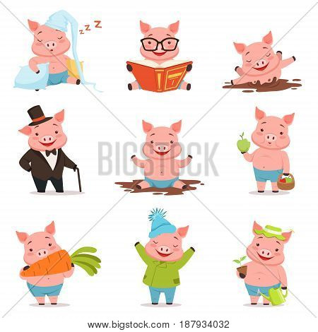 Funny little pigs in different situations set. Colorful cartoon characters vector illustrations isolated on a white background