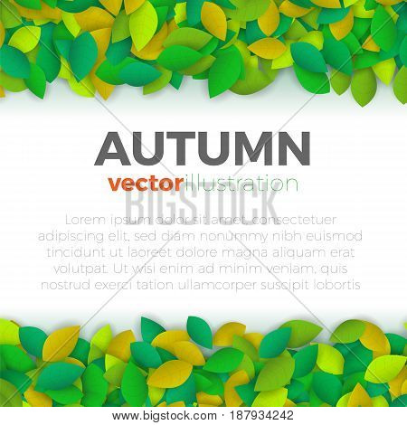Summer or autumn leaves banner concept. Stylish background with top and bottom borders of colorful leaves with blank space for text block. Vector illustration frame.