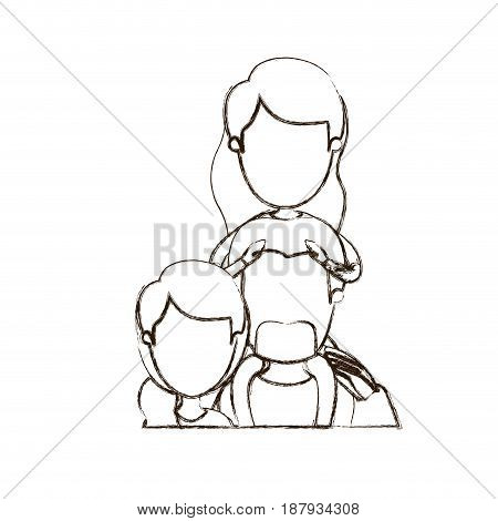 blurred thin contour caricature faceless half body family with mother and father with moustache and girl on his back vector illustration
