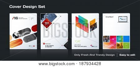 Abstract vector business template set. Brochure layout, cover modern design annual report, poster, A4 flyer with red squares, triangles, diagonal geometric shapes lines with texture background.