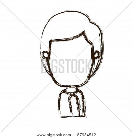 blurred thick silhouette caricature faceless side view half body boy with hairstyle vector illustration
