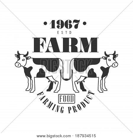 Farm food farming product estd 1967 logo. Black and white retro vector Illustration for organic products packaging, farms, shops, cafe, menu