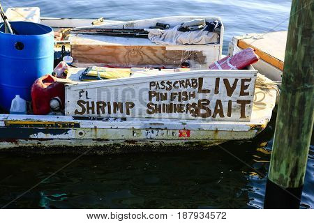 Bradenton Beach, FL USA - 12,11,2015: Live bait boat advertising home style