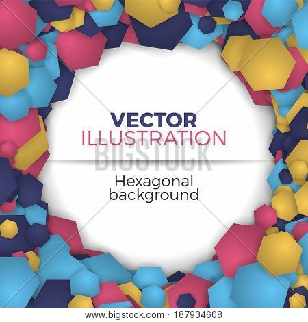 Banner template vector illustration. Abstract background from colorful hexagons. Simple but stylish round shape hexagonal frame with space for text.