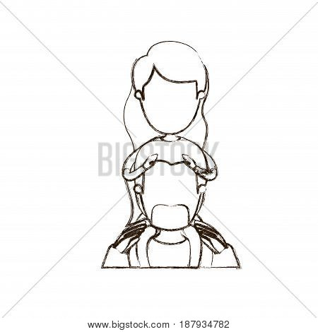 blurred thin contour caricature faceless front view half body bearded father with moustache and girl on his back vector illustration
