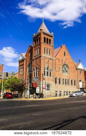 Butte, Montana, USA - 07/21/2015: The First Baptist Church on the corner of N Montana and W Broadway in Butte Montana