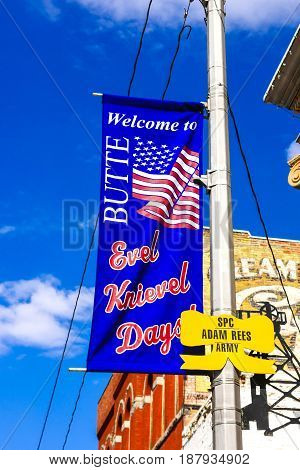 Butte, Montana, USA - 07/21/2015: Welcome to Butte Montana overhead banner