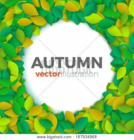 Summer or autumn leaves banner concept. Round shape space with border of colorful leaves with text block. Bright and stylish. Vector illustration background or frame.
