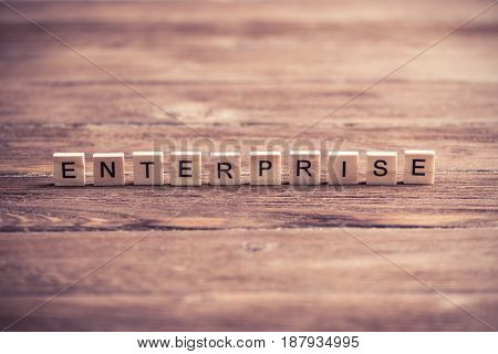 Business company conceptual word collected of elements of wooden elements with the letters