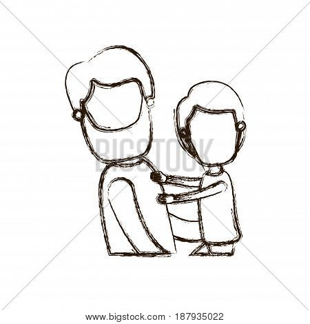 blurred thick silhouette caricature faceless side view half body bearded man carrying a child vector illustration