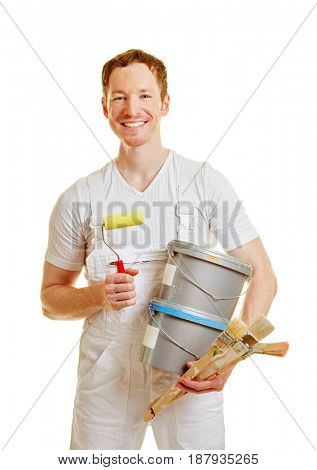 Painter or craftsman on a white background as a profession
