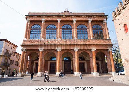 RIMINI, ITALY - 13.04.2017: Cavour square and public theater Amintore Galli in Rimini Italy