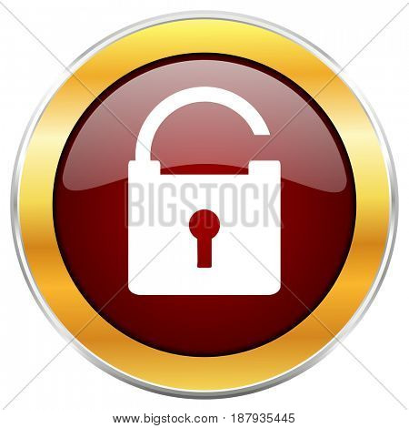 Padlock red web icon with golden border isolated on white background. Round glossy button.