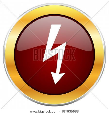 Bolt red web icon with golden border isolated on white background. Round glossy button.