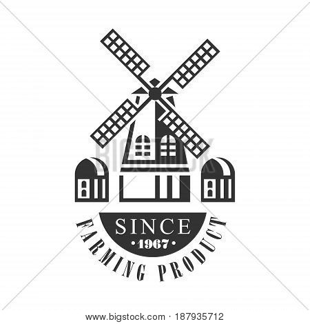 Farming product since 1967 logo. Black and white retro vector Illustration for organic products packaging, farms, shops, cafe, menu