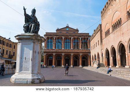RIMINI, ITALY - 13.04.2017: Facade of Rimini City Hall with statue on Cavour square in Rimini Italy