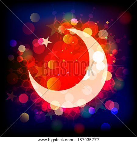 Vector illustration of Muslim crescent and Ramadan kareemwords on the colorful abstract background