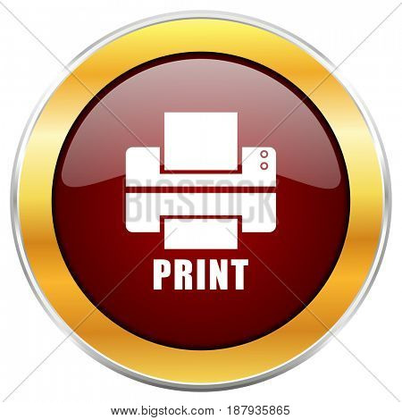 Printer red web icon with golden border isolated on white background. Round glossy button.