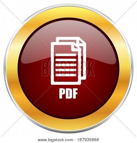 Pdf red web icon with golden border isolated on white background. Round glossy button.,