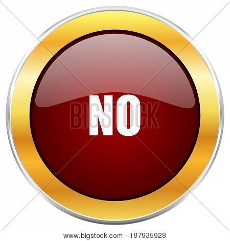No red web icon with golden border isolated on white background. Round glossy button.