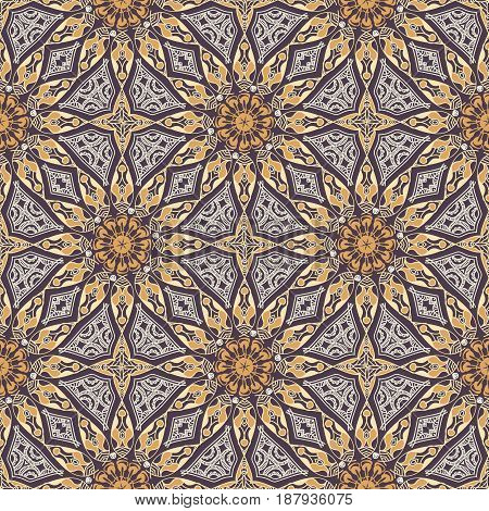 Vector seamless texture. Beautiful colored pattern for design and fashion with decorative elements. Ethnic oriental motifs