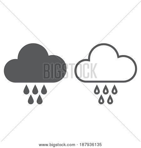 Rain icon. solid and outline isolated on white