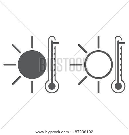 Hot Weather Icon . Solid And Outline